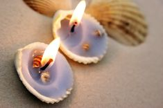 For a beach wedding! homemade candles from sea shells! wedding-ideas-obviously-not-for-my-wedding Seashell Candles, Seashell Crafts, Votive Candles, Floating Candles, Candle Wax, Ideas Candles, Beach Crafts, Scented Candles, Beach Wedding Centerpieces