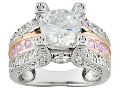 Rhodium Plated Silver And 18k Rose Gold Over Silver Bella Luce (R) 5.77ctw Round And Square Ring