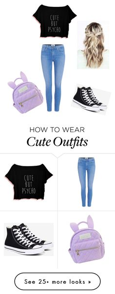 """High school outfit"" by unicorn-donut on Polyvore featuring cutekawaii, Converse and Paige Denim"