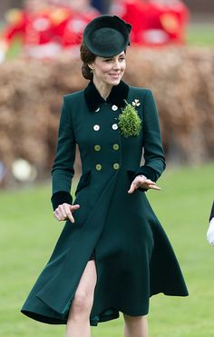 Catherine, Duchess of Cambridge in a very smart double breasted style Catherine Walker & Co bespoke coat the annual Irish Guards St Patrick's Day Parade on March 17, 2017 in London, England.