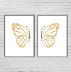 butterfly print in two halves. very pretty baby nursery art.
