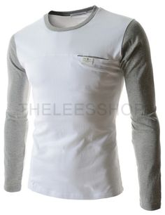 (CAL19-GRAY) Mens Slim Fit Round Neck Two Tone Logo Patch Pocket Long Sleeve Tshirts