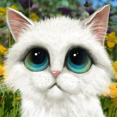 Big-eyed cat print Margaret Keane inspired by SarahSpringStudio on Etsy♥🌸♥ Big Eyes Margaret Keane, Big Eyes Paintings, Neko, Cats With Big Eyes, Huge Eyes, Nostalgia Art, Cat Character, Cute Illustration, Illustrations