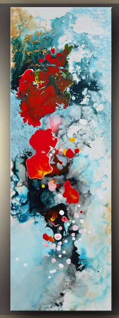 Coral Reef, Abstract Painting, blue, red