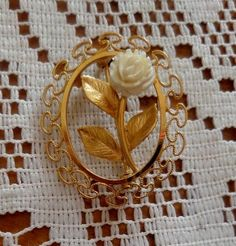 Vintage Gold Filled Filigree Victorian Brooch or Pin Faux Ivory Rose Flower by BuddysBoutique on Etsy Filigree, Vintage Jewelry, Ivory, Victorian, Bling, Brooch, Rose, Flowers, Fun