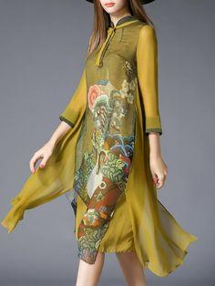 Yellow Vintage Stand Collar Paneled A-line Midi Dress