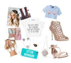 """Mermaid fan"" by playfoo on Polyvore featuring beauty, Casetify, Disney, Margarita Mermaid, Dune, Emily Rose Flower Crowns and Sergio Rossi"
