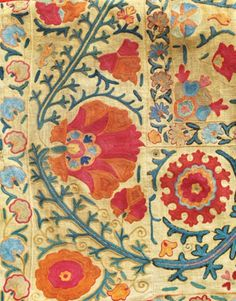 Suzani (needlework)is a type of embroidered and decorative tribal textile made in Tajikistan, Uzbekistan, Kazakhstan and other Central Asian countries. Suzani is from the Persian سوزن Suzan which means needle. Suzanis were traditionally made by Central Asian brides as part of their dowry, and were presented to the groom on the wedding day.