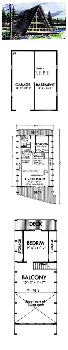 A Frame House Plan 57547 | Total Living Area: 970 sq. ft., 2 bedrooms & 1 bathroom. #aframe #houseplans