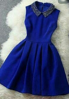 cute decorated collar sapphire blue dress - this would look cute for a new years party dress or something formal Pretty Outfits, Pretty Dresses, Beautiful Dresses, Gorgeous Dress, Pretty Clothes, Short Dresses, Prom Dresses, Formal Dresses, Mini Dresses