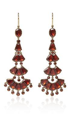 Fred Leighton 19th Century Hessonite Garnet Chandelier Earrings
