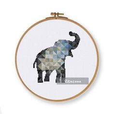Geometric Elephant cross stitch pattern, modern nursery baby animal grey counted cross stitch, instant download easy hoop art wall decor