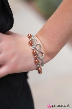World Without End - Orange $5 infinity bracelet  http://paparazziaccessories.com/56344