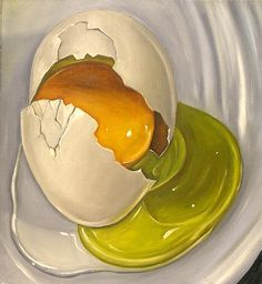 'Cracked Egg' By Vic Vicini Medium: Oil Paint on Canvas this painting has made me want to experiment with oil paints as I like the shine that is achieved Acrylic Painting Tips, Food Painting, Paintings Of Food, Painting Classes, Food Illustrations, Illustration Art, Juan Sanchez Cotan, Food Artists, Cracked Egg