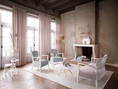 Te koop bij Caspar Dekkers Interieurs in Nieuwkuijk  www.cdinterieurs.nl  Kobe gordijnen Poetry - roze - Eliot 3447