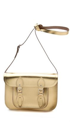 Gold bags work well with brown or black shoes. So easy to love Cambridge Satchel Metallic Satchel