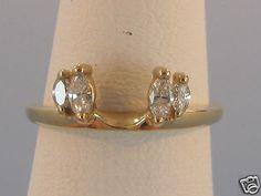 14K Yellow Gold Marquise Geniune Diamond Ring Wrap Guard Enhancer Jacket