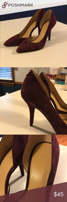 Michael Kors Wine Heels Beautiful marroon heels by Michael Kors. I wore them with a ball gown for the Military Ball. comfortable to walk in & true to size! worn for just a few hours.‼️if you low ball me i'll completely decline your offer ‼️ KORS Michael Kors Shoes Heels