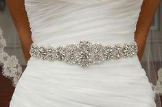 Wedding Bridal Sash Belt, Crystal Wedding Dress Sash Belt = 17 1/2 INCH LONG