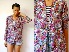 Vtg Floral Purple Print Button Down LS Light Jacket by LuluTresors, $27.99