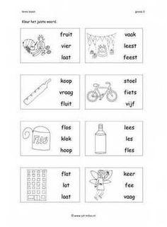 Dit werkblad en nog veel meer in de categorie leren lezen kun je downloaden op de website van Juf Milou. Learning Activities, Literacy, Homeschool, Classroom, Dutch, Logo, Words, Class Room, Logos