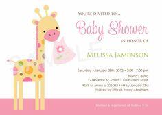 Jungle Safari Giraffe Baby Shower Invitations by PinkSkyPrintables, $11.00