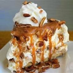 Butter Brickle Frozen Delight - It's a very rich dessert with layers of butter brickle, caramel sauce, and a rich layer of cool whip cream cheese. Very rich!""