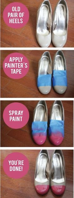 Brown and pink DIY shoe pop of color ~Vicki