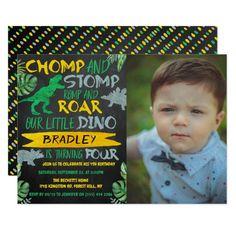 Chomp & Stomp! Dinosaur Boys 4th Birthday Photo Invitation