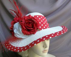Wide Brim Red Hat White with Red and White Polka by GlitzOfFlorida