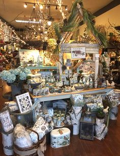 Birds Eye View Garden Shop in Yuba City, CA shared this photo. We love how they interwove Michel Design Works Nest and Eggs products with metals, woods and florals. Booth Displays, Retail Displays, Store Displays, Yuba City, Gift Shops, Garden Centre, Kitchen Shop, Visual Display, Garden Shop