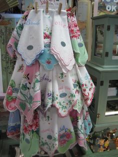Sweet Vintage style hankies....I need this display!