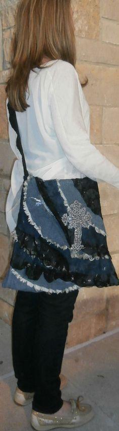 Handmade Ruffled Denim smf Lace Ruffled Fabric by CrossMyHeartBags