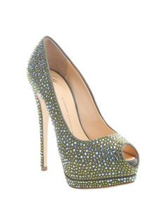 Giuseppe Zanotti caky suede 'Sharon 105' crystal detail peep toe platform pumps