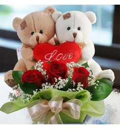 Teddy & Flowers Combo – India Cakes n Flowers Valentine Day Wreaths, Valentines Diy, Valentine Day Gifts, Flower Shop Decor, Valentine's Day Gift Baskets, Valentine Gifts For Girlfriend, Send Flowers Online, Teddy Bear Gifts, Beautiful Rose Flowers