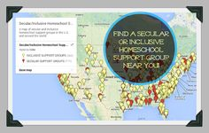 A map and list of secular and inclusive homeschool support groups in the U.S. and around the world