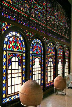 The beautiful Windows of the Kurdish Museum in Sîne, Kurdistan Province, Iran.