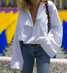 Oversized.. #Style #Outfit #Oversized #Sleeves #White #Shirt #Denim #Jeans #FineGold #Necklace
