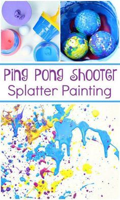 Ping Pong Shooter Splatter Painting-Fun action art for kids! We tried this with different kinds of objects and the kids loved it