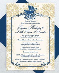 Baby Shower Invitation    PDF Custom Printable, Royal Baby, Baby Carriage  Invite