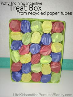 potty training incentive treat box upcycled paper tubes