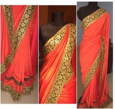 Mari gold by Joysna. Dual tone orange red shaded saree in soft silk material with black and gold faux mirror work embroidered border.Blouse is black and gold brocade material .To know more /order please drop in a message in Joysna.sales@gmail.com  30 January 2017