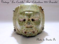 """LOS CASTILLO""  Early 40's TAXCO Pre Colombian Hand Carved Stone 925 Cuff 5.2 OZ #Taxco"