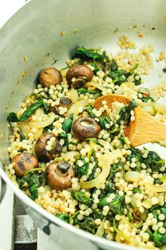 ISRAELI COUSCOUS WITH SPINACH AND MUSHROOMS – This recipe for Israeli couscous puts dinner on the table in 25 minutes. It's mixed with a savory blend of sautéed garlic, mushrooms, and spinach.