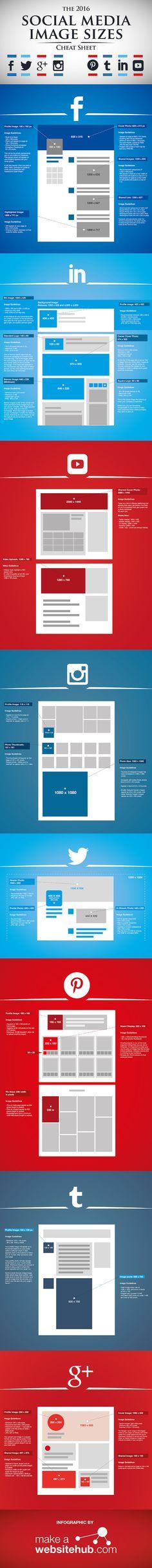 In einer Infografik: Die Bildgrößen von Facebook, Twitter, Google+, Instagram, Youtube und Pinterest 2016 - allfacebook.de