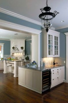 """Love the color - sort of a """"Wedgewood"""" blue Lake Forest Residence #1 - traditional - kitchen - chicago - Orren Pickell Building Group"""