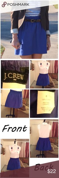 """J.Crew Skirt First pic of model wearing this style of Skirt.  Last 3 pics are actual item/color.  Size 0.  100% Cotton. Color blue. Elastic waist. 2 pockets. Length """"15.5. Laying flat """"11.5. This Item is not new, It used and in good condition. Item is Authentic & from a Smoke/Pet Free home. All of the measurements are approximate and are done flat. Please use the Offer button. I will NOT negotiate price in the comment section. Thank You😃 J. Crew Skirts"""