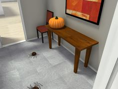 What kind of candy should go in the bowl on the table by the door for Halloween?   Plan your holiday decorations in 3D for free:  http://planner.roomsketcher.com/?ctxt=rs_com  3D floor plan for an entry way decorated with spiders & autumn colors for Halloween designed in RoomSketcher Business Edition  #Halloween #Autumn #spiders