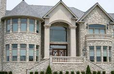 Beautiful Halquist stone veneer. Stone Veneer, Exterior, Mansions, House Styles, Beautiful, Home Decor, Stone Cladding, Decoration Home, Room Decor