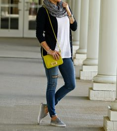 Perfect casual fall outfit with distressed denim vans and gray scarf on Peaches In A Pod Blog